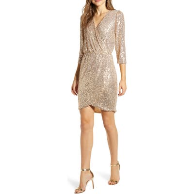 Gibson X Glam The Motherchic Sequin Faux Wrap Holiday Dress, Ivory (Regular & Petite) (Nordstrom Exclusive)
