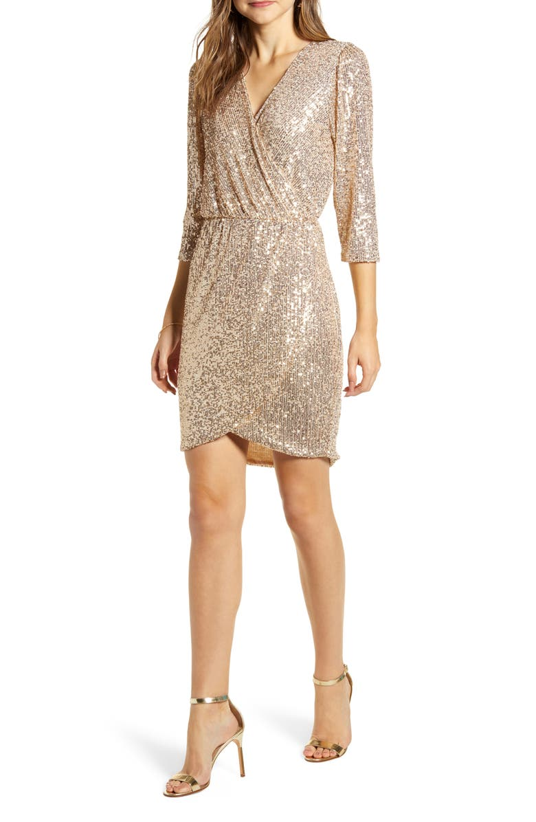GIBSON x Glam The Motherchic Sequin Faux Wrap Holiday Dress, Main, color, 907