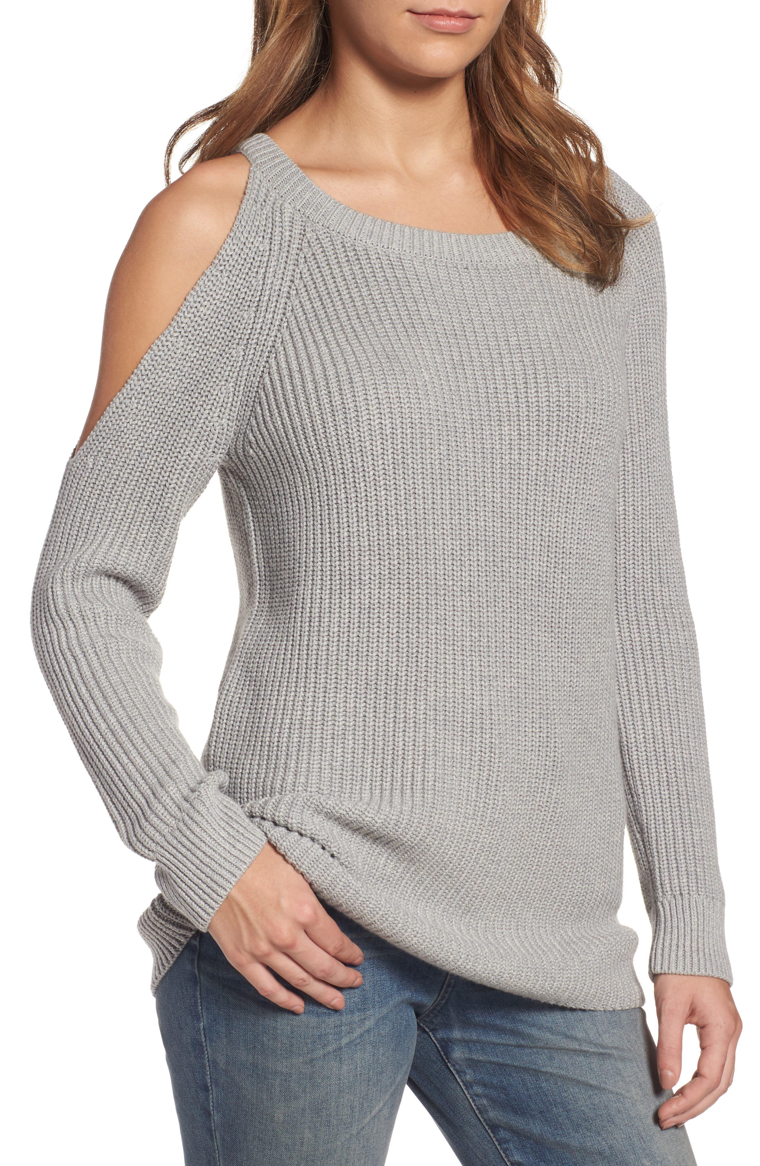 ,                             Asymmetrical Cold Shoulder Sweater,                             Main thumbnail 1, color,                             020