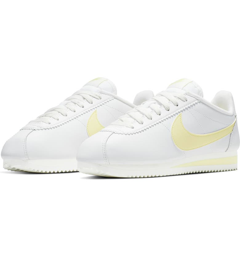 NIKE Classic Cortez Sneaker, Main, color, SUMMIT WHITE/ BICYCLE YELLOW