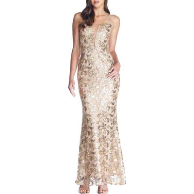 Dress The Population Mara Lace & Sequin Evening Gown, Brown