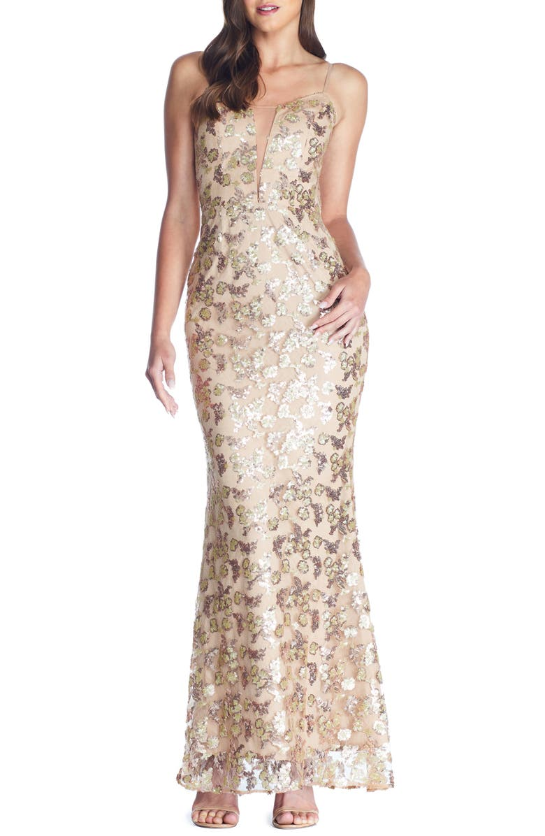 DRESS THE POPULATION Mara Lace & Sequin Evening Gown, Main, color, GOLD-NUDE