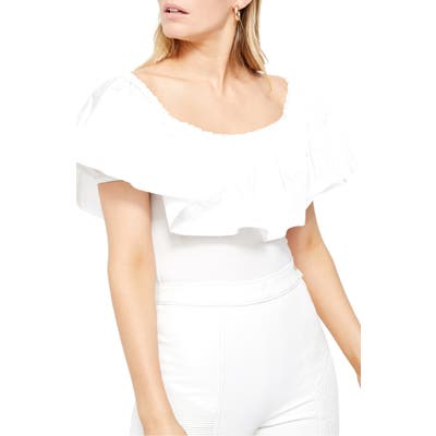 Free People Poof Goes My Heart Off The Shoulder Bodysuit, White