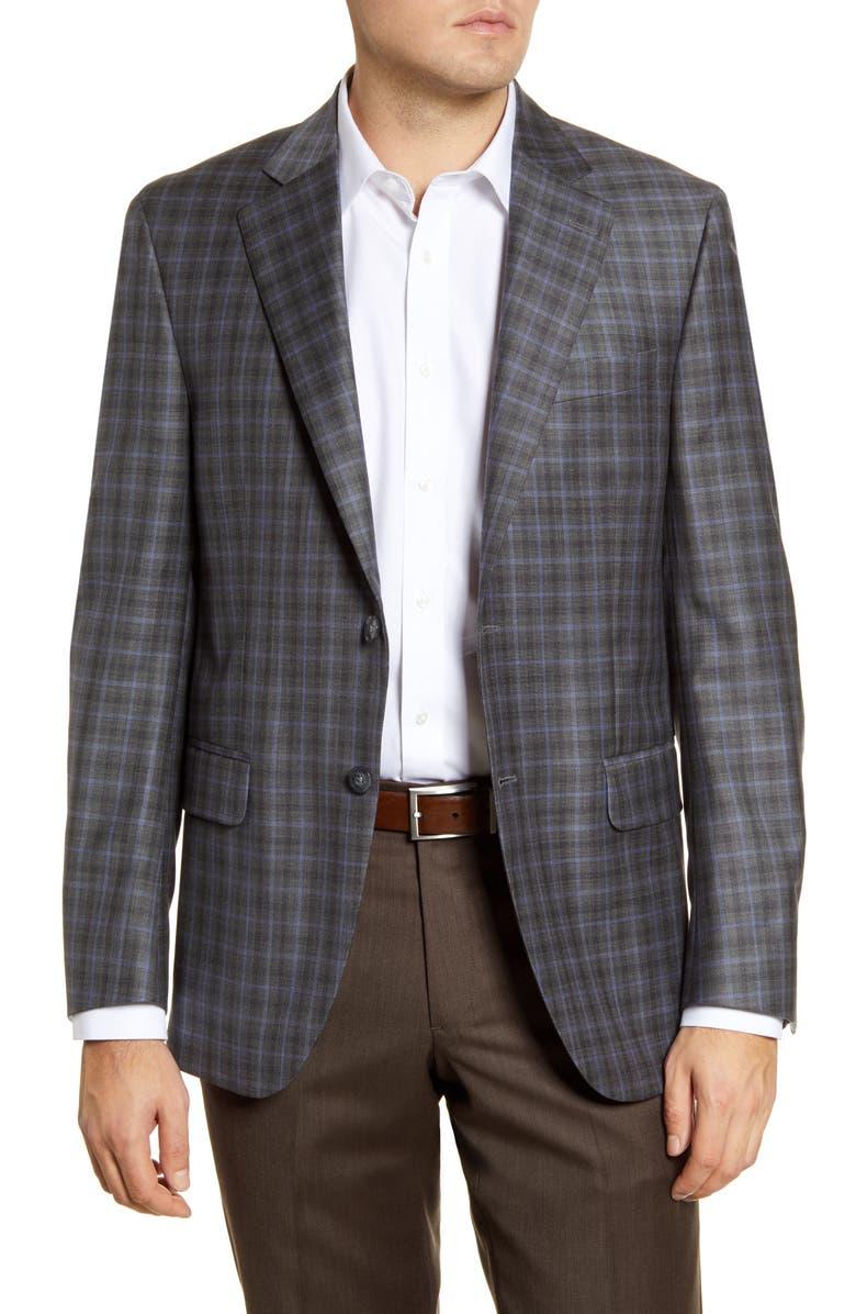 PETER MILLAR Flynn Classic Fit Plaid Wool Sport Coat, Main, color, GREY