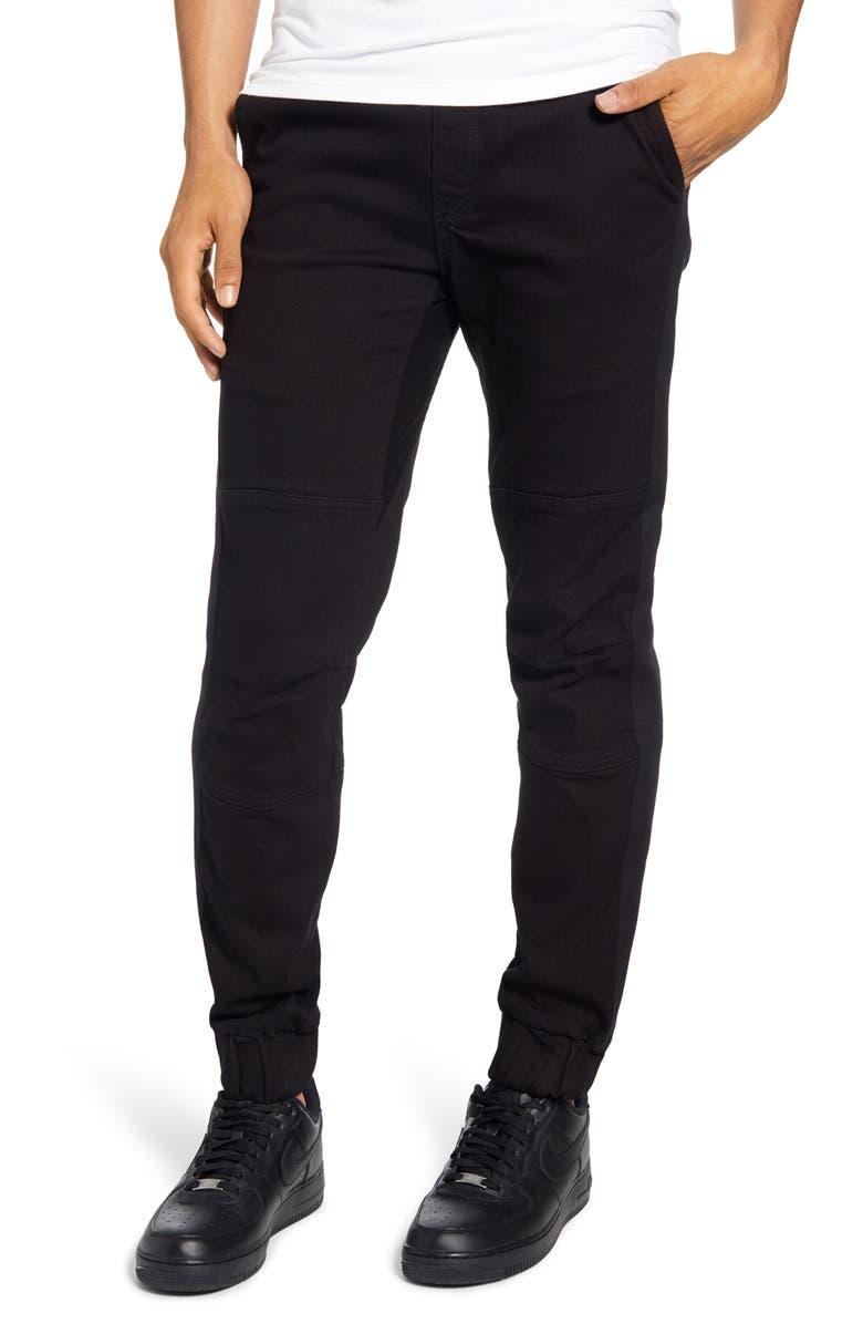 WESC Slim Fit Denim Jogger Pants, Main, color, 001