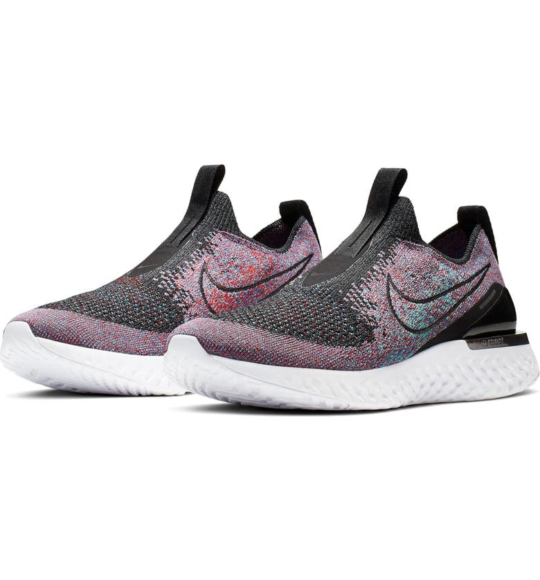 NIKE Epic Phantom React Flyknit Running Shoe, Main, color, BLACK/ UNIVERSITY RED/ JADE