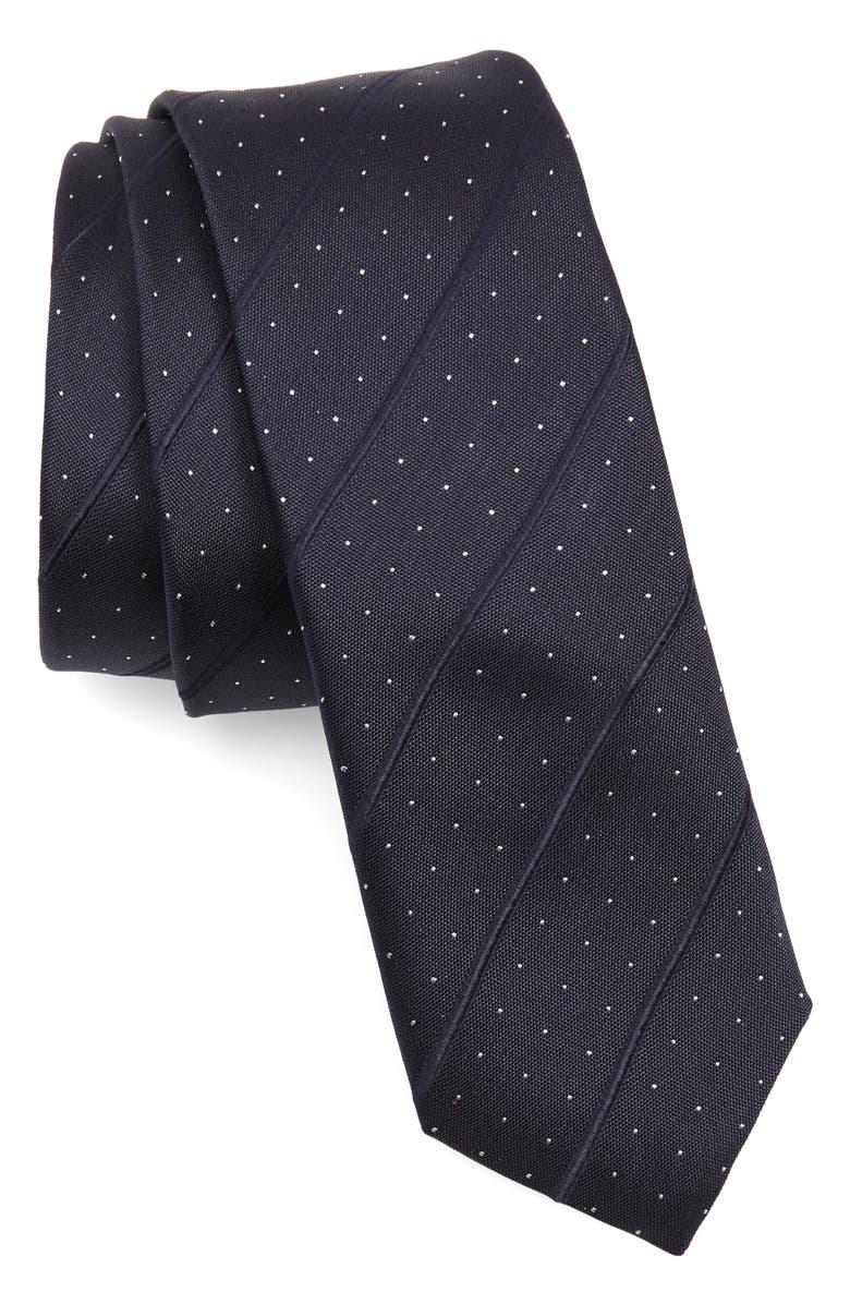 BOSS Stripe Silk Blend Tie, Main, color, 480