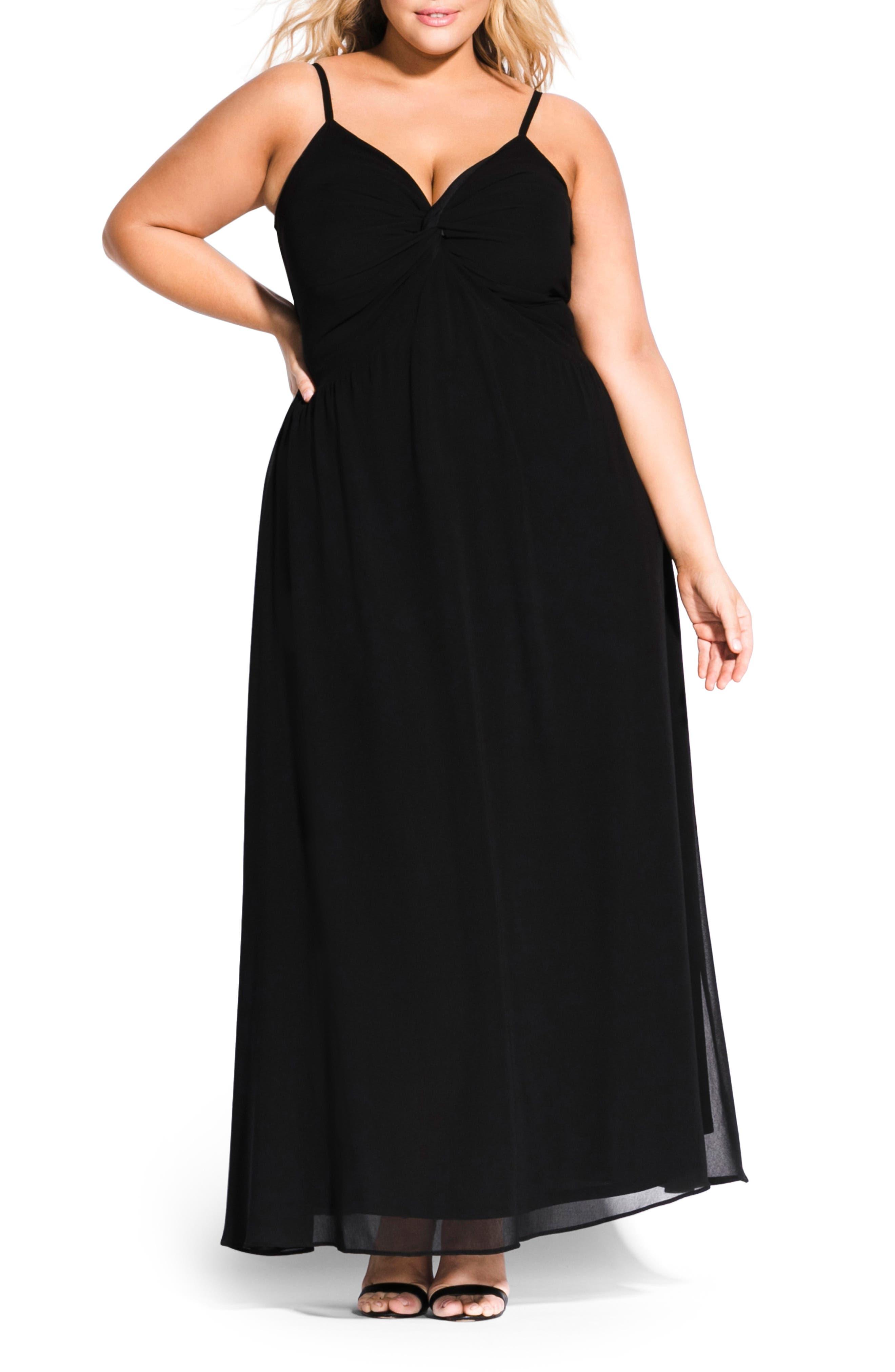 Plus Size City Chic Ambrosia Maxi Dress, Black