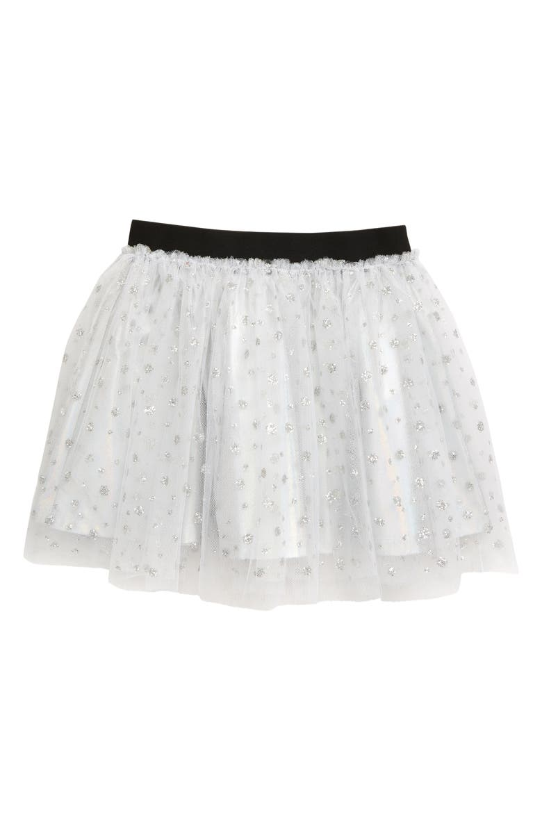 TRULY ME Glitter Tulle Skirt, Main, color, METALLIC SILVER