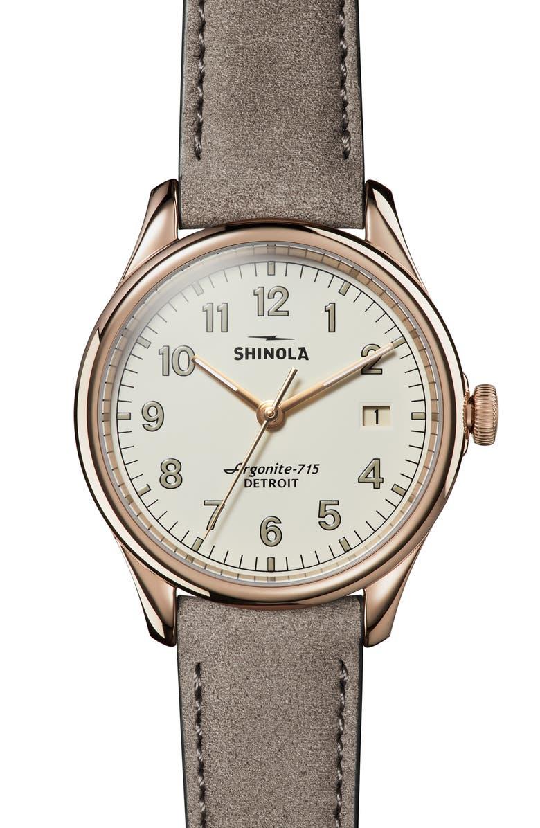SHINOLA The Vinton Leather Strap Watch, 38mm, Main, color, 020