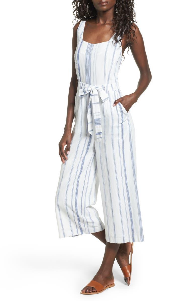 J.O.A. Crop Stripe Cotton Jumpsuit, Main, color, 412