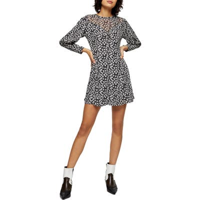 Topshop Twist Grunge Long Sleeve Minidress, US (fits like 6-8) - Black