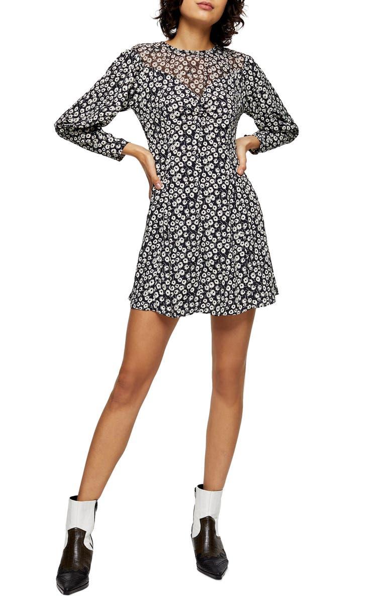 TOPSHOP Twist Grunge Long Sleeve Minidress, Main, color, BLACK MULTI