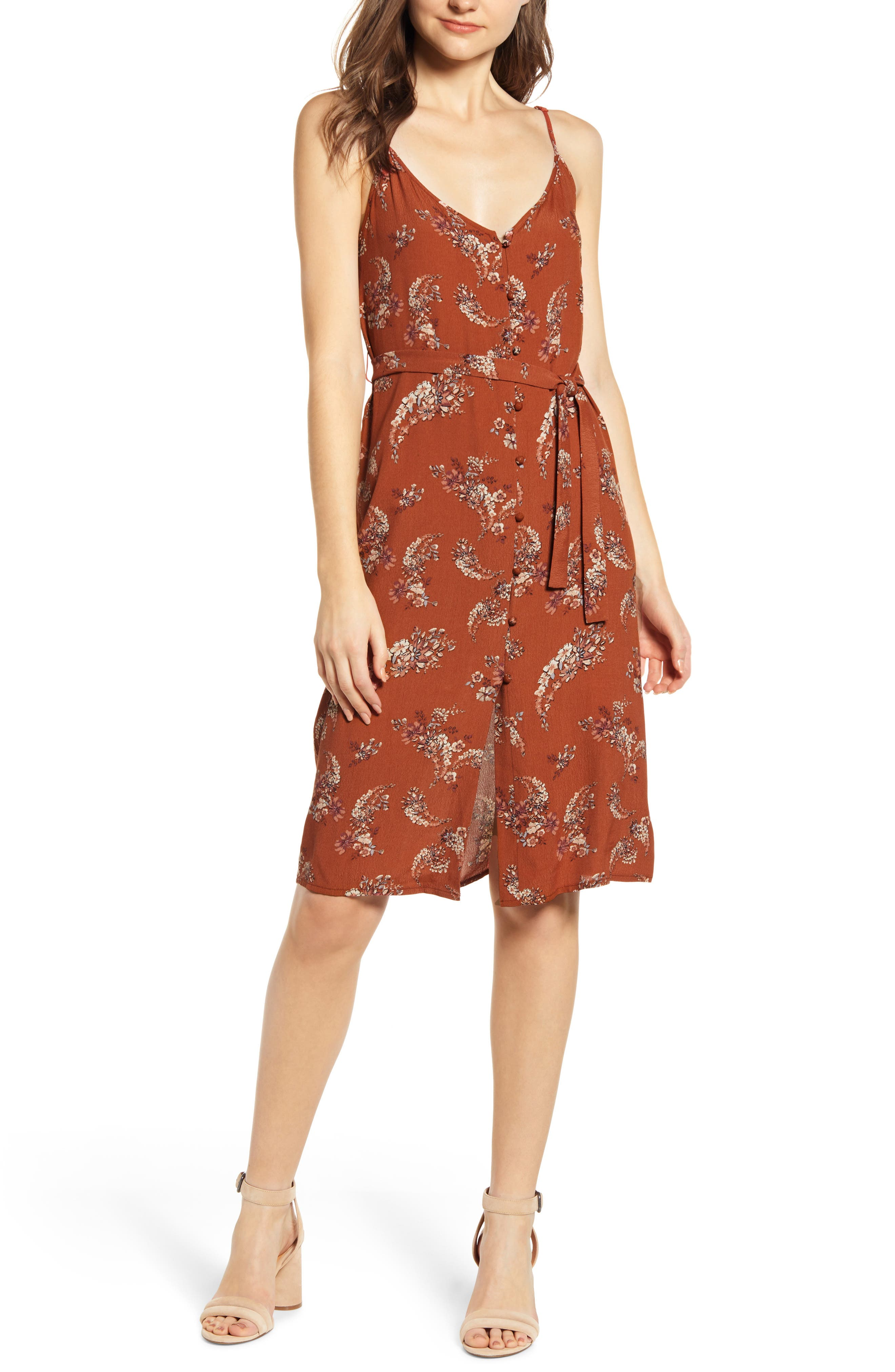 Bishop + Young Button Up Belted Sundress, Red
