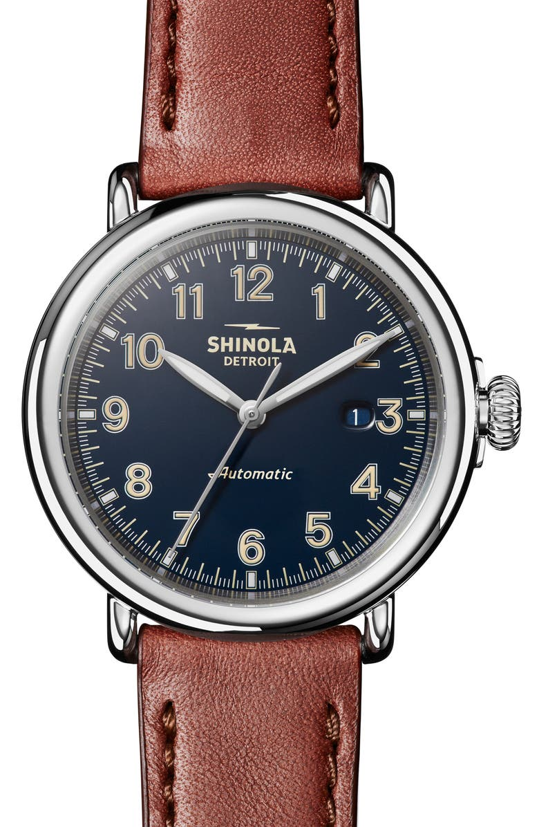 SHINOLA Runwell Automatic Leather Strap Watch, 45mm, Main, color, DARK COGNAC / BLUE/ SILVER