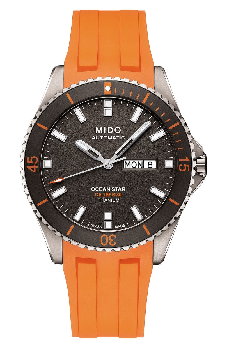 MIDO Ocean Star Automatic Rubber Strap Watch, 42mm, Main, color, 020