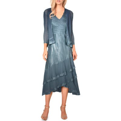 Petite Komarov Asymmetrical Jacket Dress, Blue