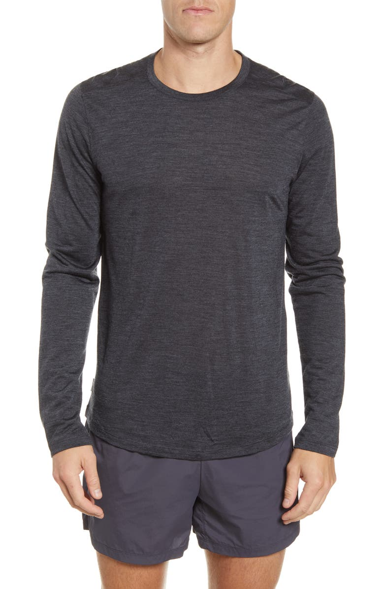 ICEBREAKER Cool-Lite<sup>™</sup> Sphere Long Sleeve T-Shirt, Main, color, BLACK HEATHER