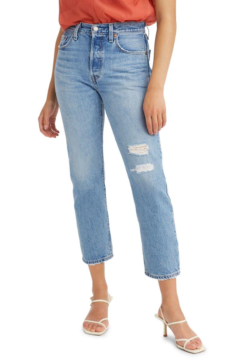 LEVI'S<SUP>®</SUP> 501<sup>®</sup> Distressed Crop Jeans, Main, color, LUXOR RECONSTRUCTION
