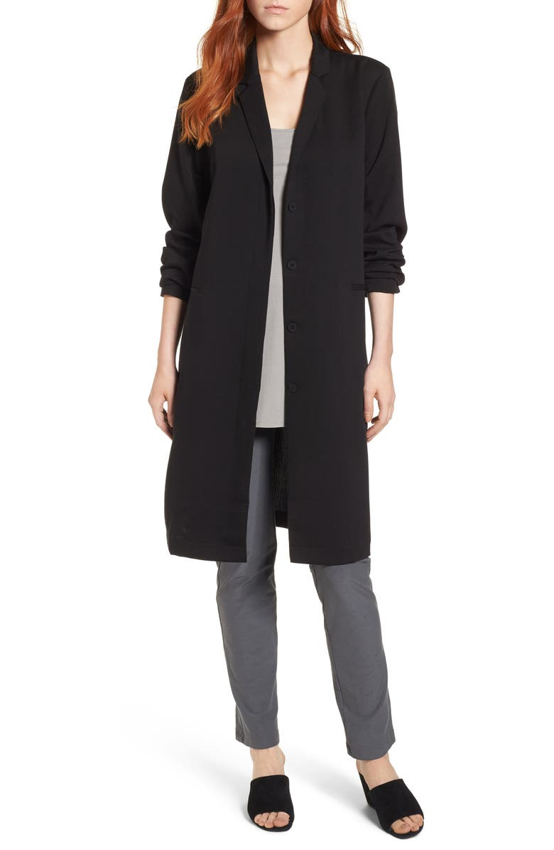 EILEEN FISHER Long Tencel<sup>®</sup> Lyocell Jacket, Main, color, 001