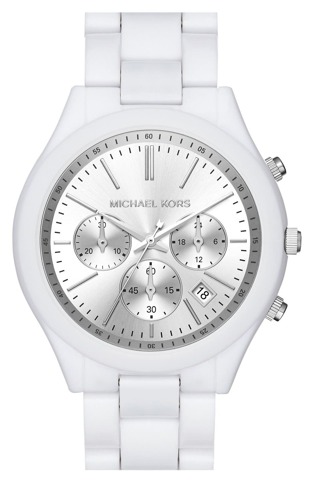 ,                             Michael Kors 'Slim Runway' Chronograph Bracelet Watch, 42mm,                             Main thumbnail 6, color,                             100