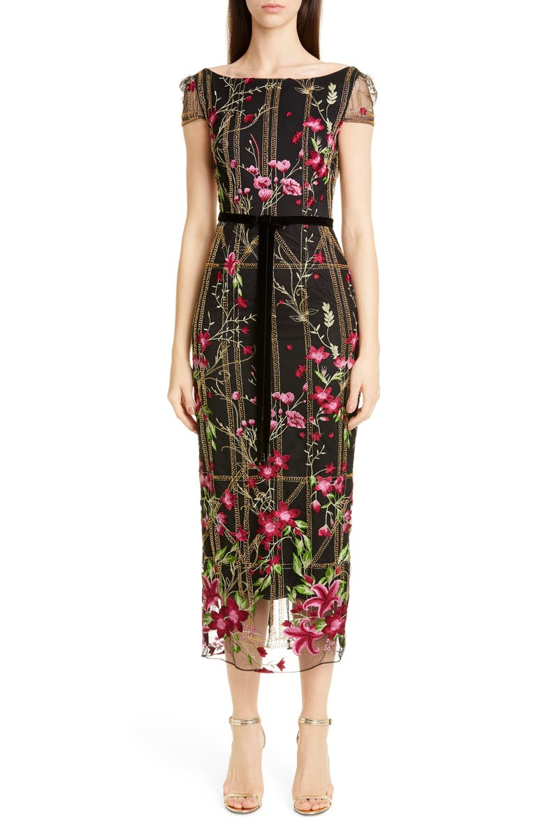 MARCHESA NOTTE Floral Embroidered Midi Dress, Main, color, BLACK
