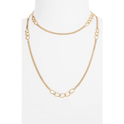 Halogen Inset Curb Chain Long Necklace