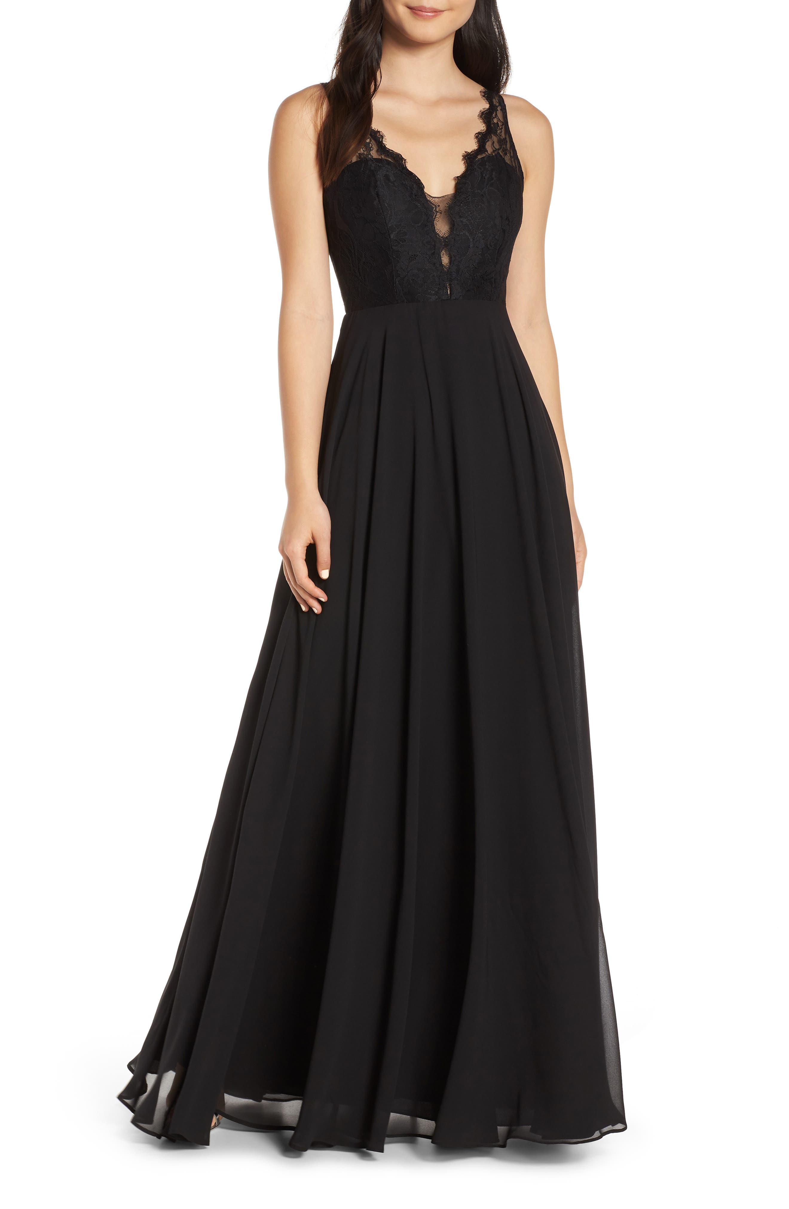 Hayley Paige Occasions Lace Bodice Chiffon Evening Dress, Black