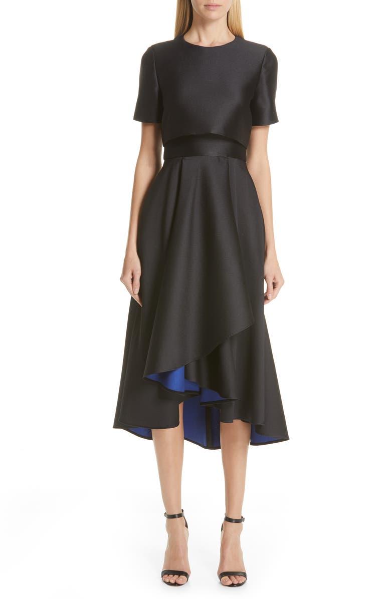 JASON WU COLLECTION Double Face Cocktail Dress, Main, color, BLACK