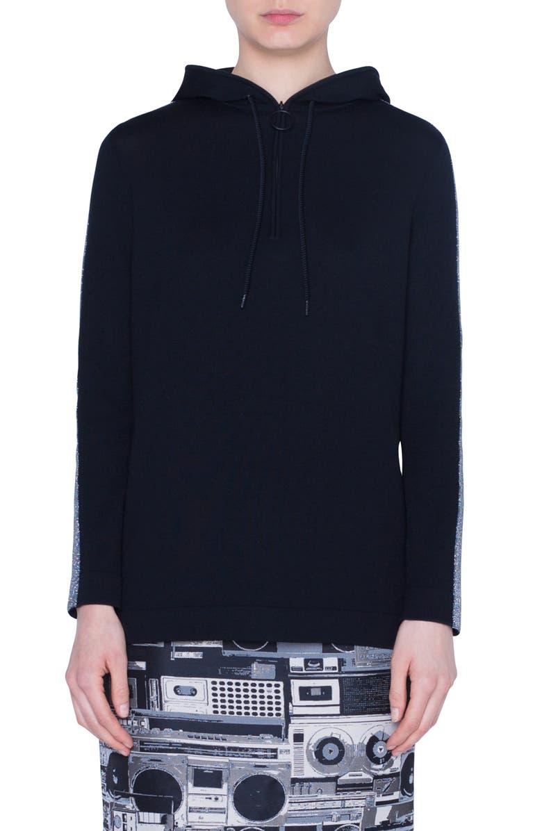 AKRIS PUNTO Metallic Tuxedo Stripe Wool Sweater, Main, color, BLACK