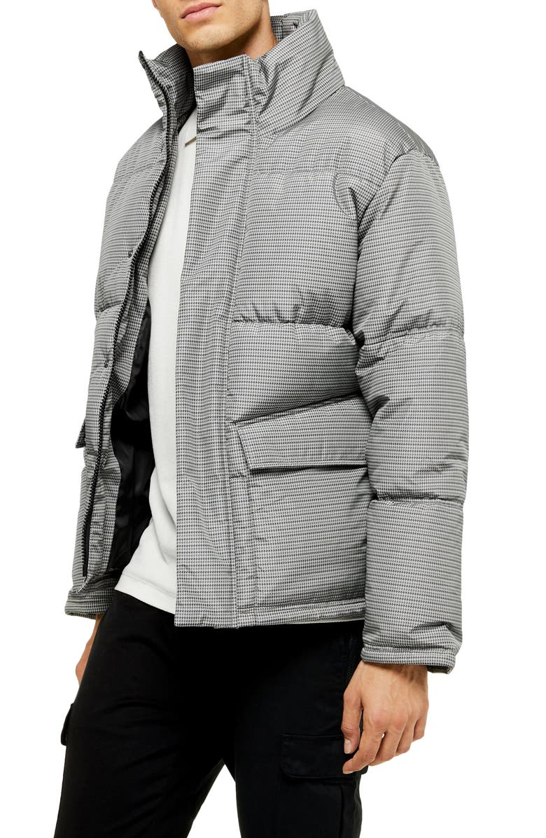 TOPMAN Houndstooth Puffer Jacket, Main, color, GREY MULTI