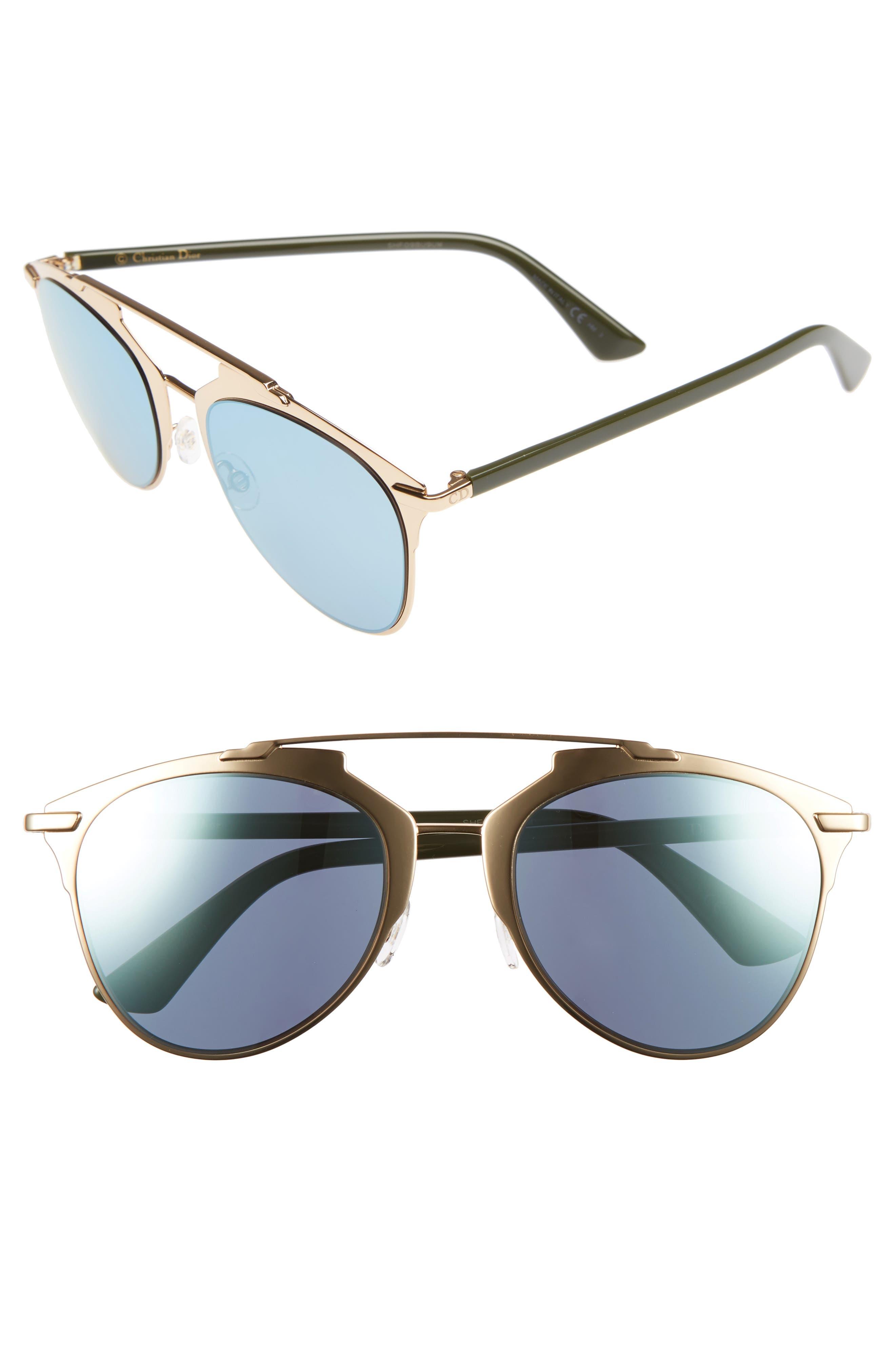 ,                             Reflected 52mm Brow Bar Sunglasses,                             Main thumbnail 45, color,                             715