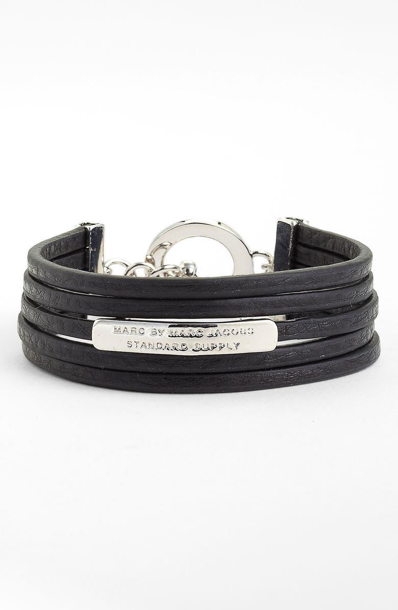 MARC BY MARC JACOBS Leather ID Bracelet, Main, color, 001