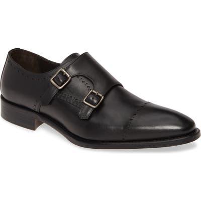 Johnston & Murphy Reece Cap Toe Double Monk Strap Shoe, Black