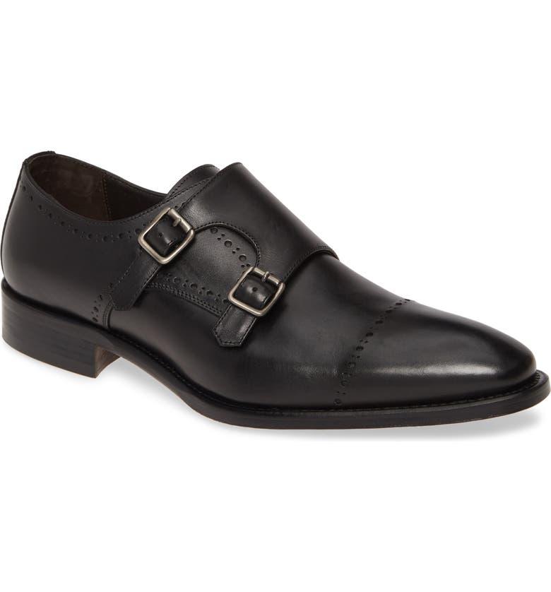 JOHNSTON & MURPHY Reece Cap Toe Double Monk Strap Shoe, Main, color, BLACK LEATHER
