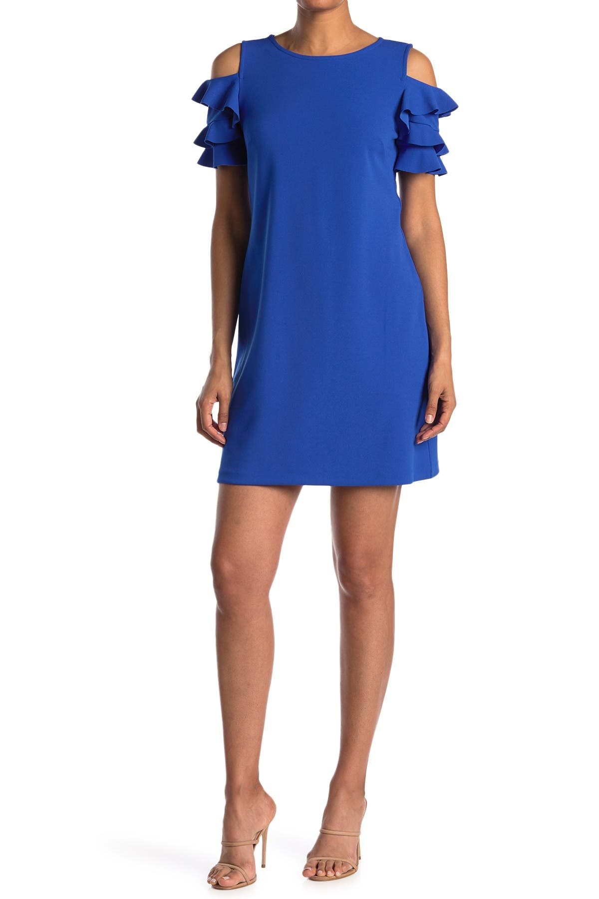 Image of London Times Cold Shoulder Scuba Shift Dress