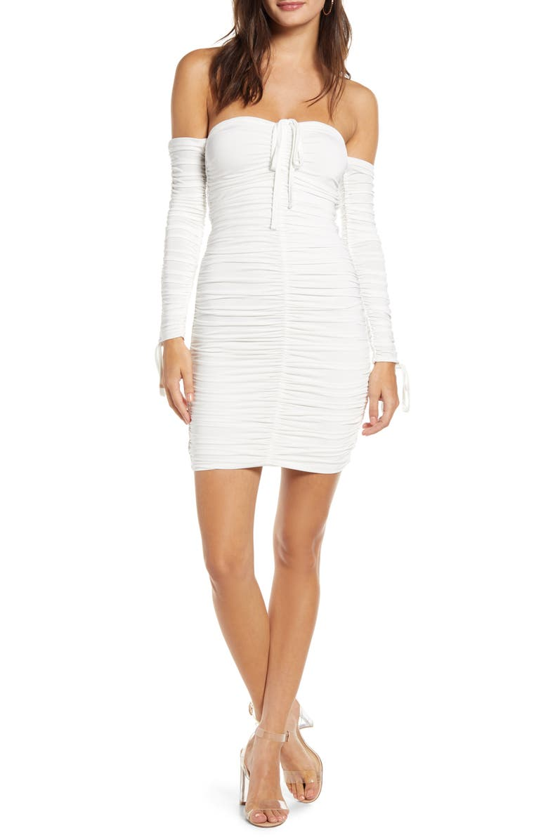TIGER MIST Peta Long Sleeve Off the Shoulder Body-Con Dress, Main, color, WHITE