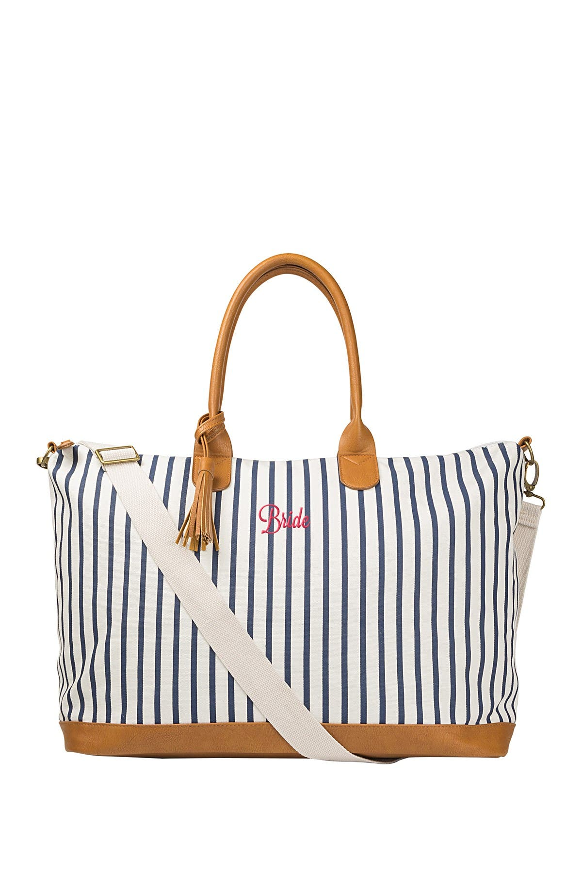 Image of Cathy's Concepts Bride Striped Weekend Tote