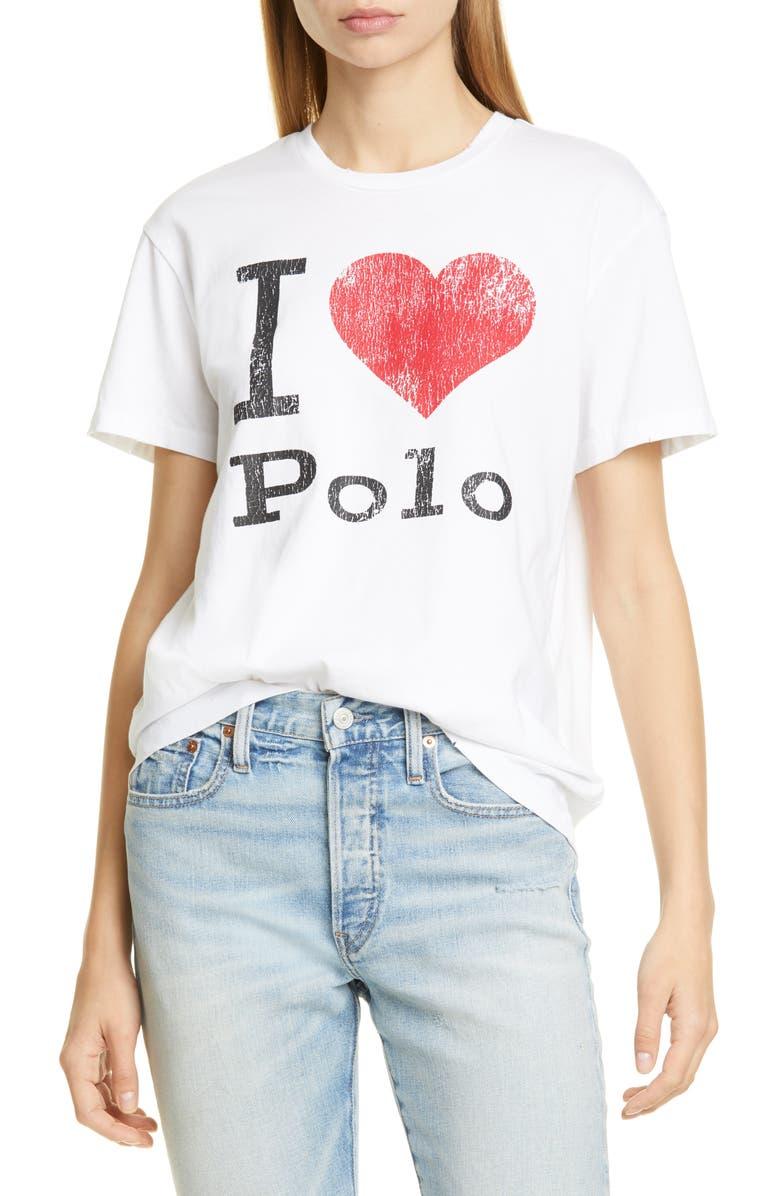 POLO RALPH LAUREN Love Polo Cotton Tee, Main, color, WHITE