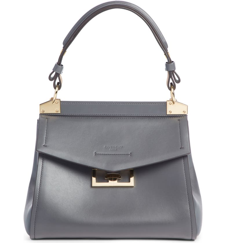 GIVENCHY Small Mystic Leather Satchel, Main, color, STORM GREY