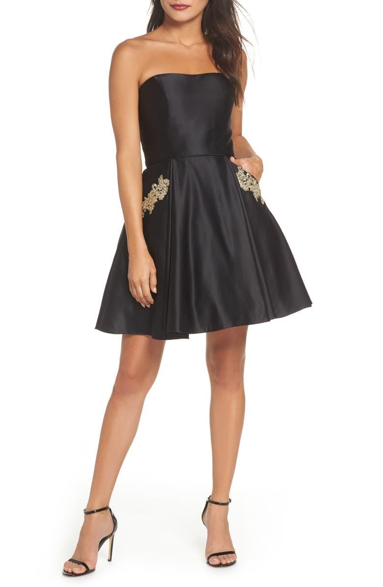 BLONDIE NITES Satin Appliqué Party Dress, Main, color, 011