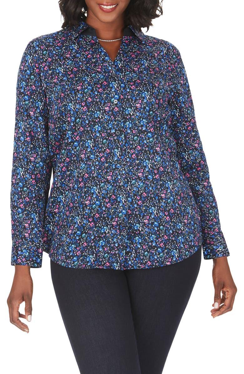 FOXCROFT Faith Twilight Floral Wrinkle Free Shirt, Main, color, MULTI