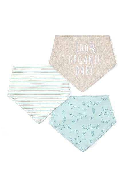 Image of RABBIT AND BEAR ORGANIC 100% Organic Baby Printed Bandana Bibs - Pack of 3