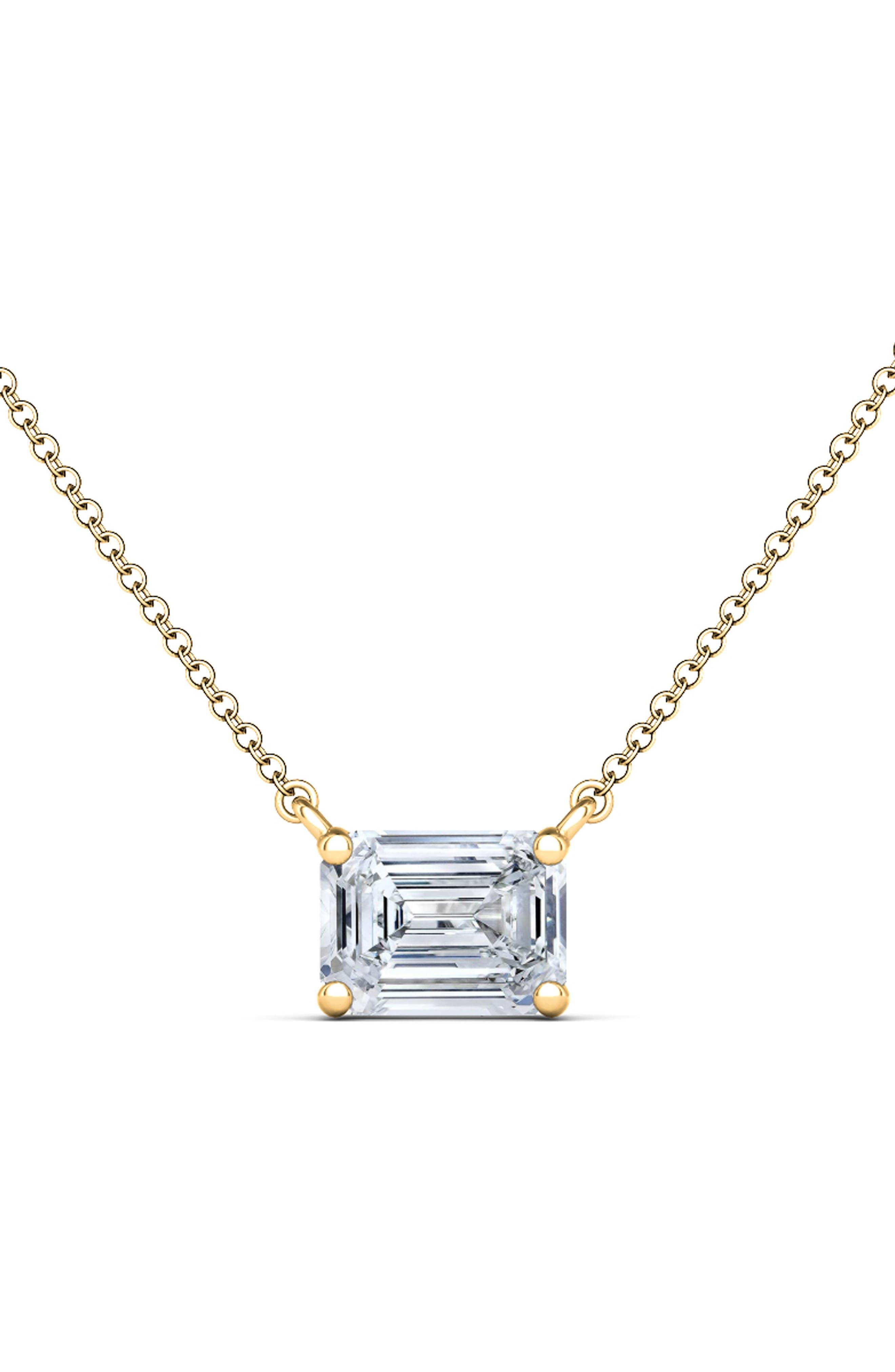 Emerald Lab Grown Diamond Pendant Necklace