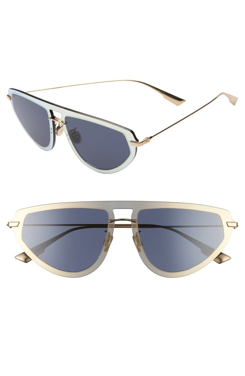 DIOR Ultime2 56mm Aviator Sunglasses, Main, color, GOLD/ BLUE