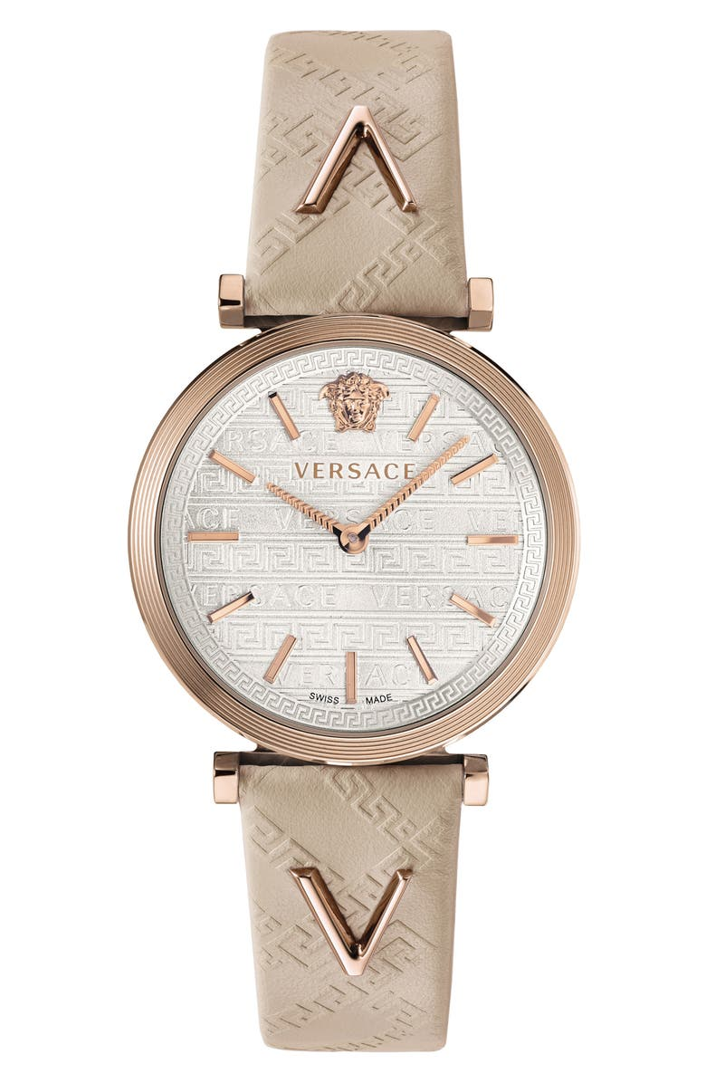 VERSACE V Twist Leather Strap Watch, 36mm, Main, color, IVORY/ SILVER/ ROSE GOLD