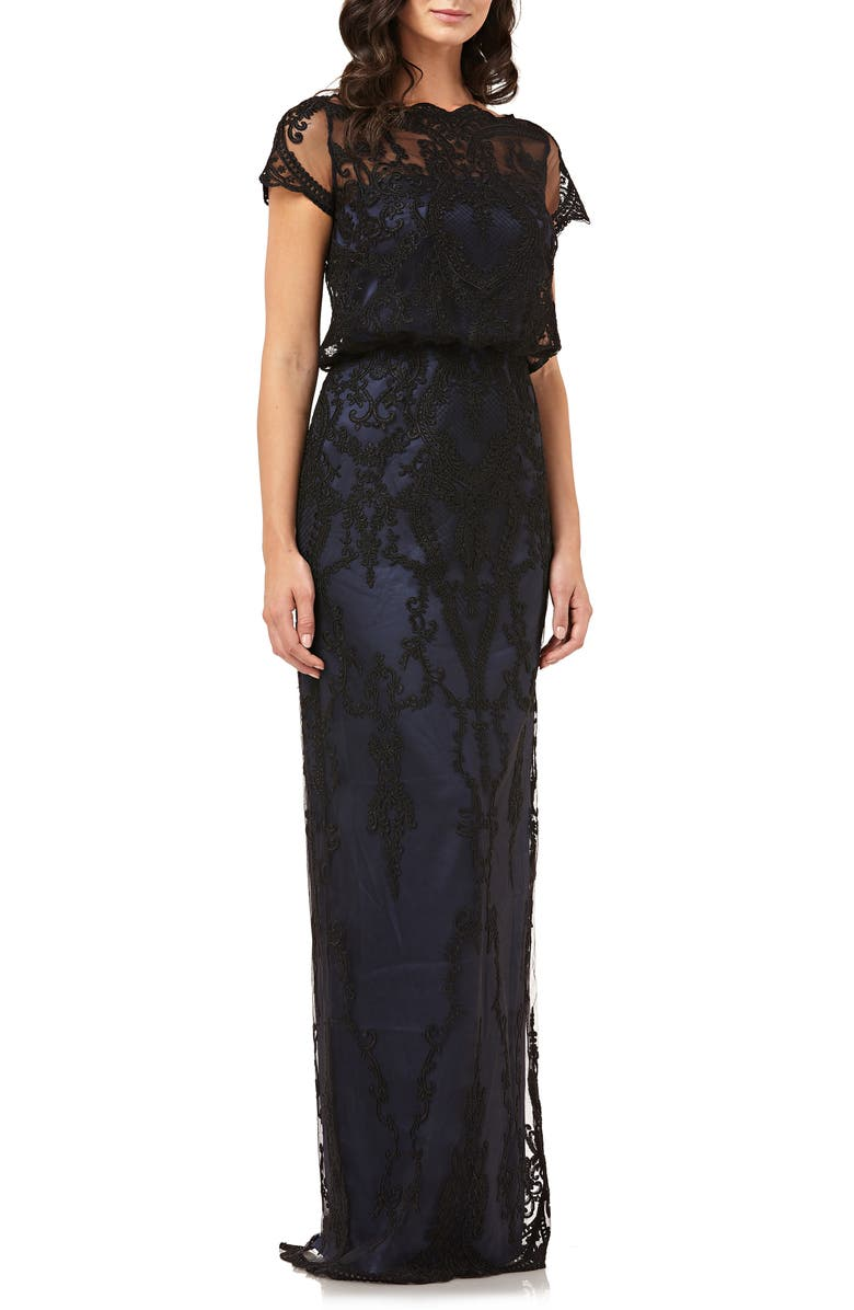 Scallop Embroidered Blouson Evening Dress by Js Collections