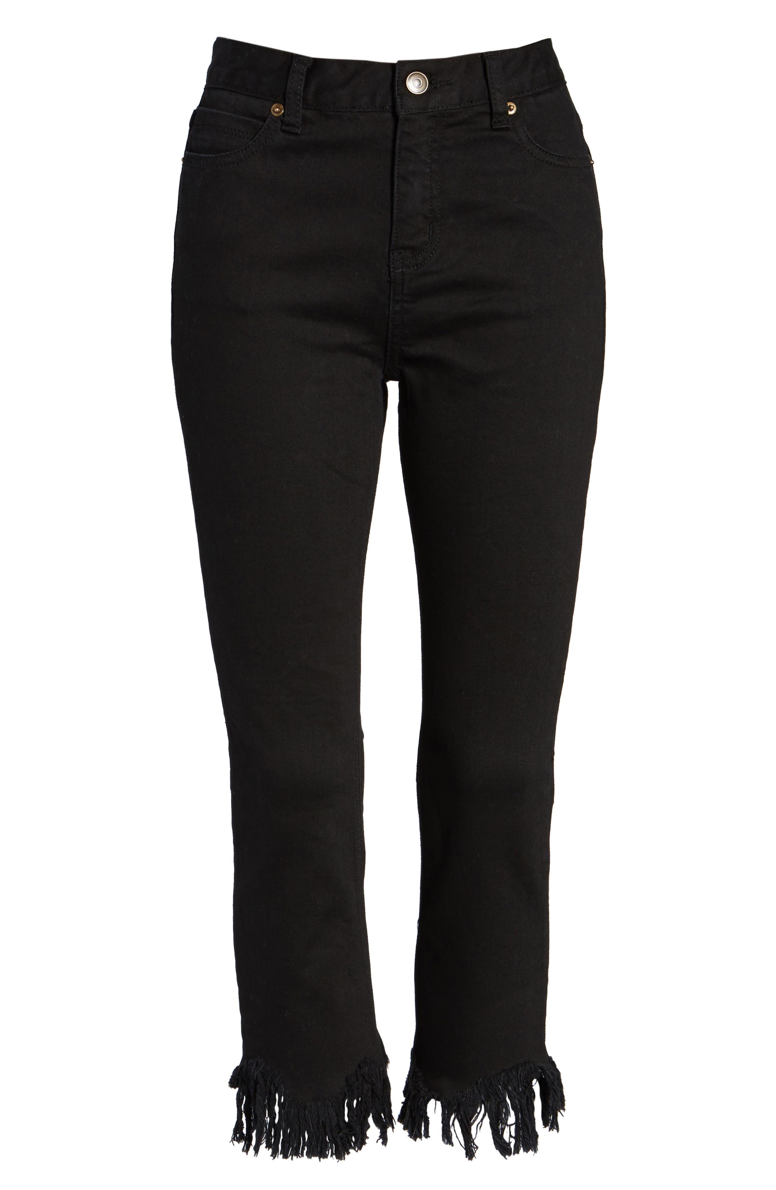 ,                             Frayed Hem High Rise Crop Jeans,                             Alternate thumbnail 6, color,                             001