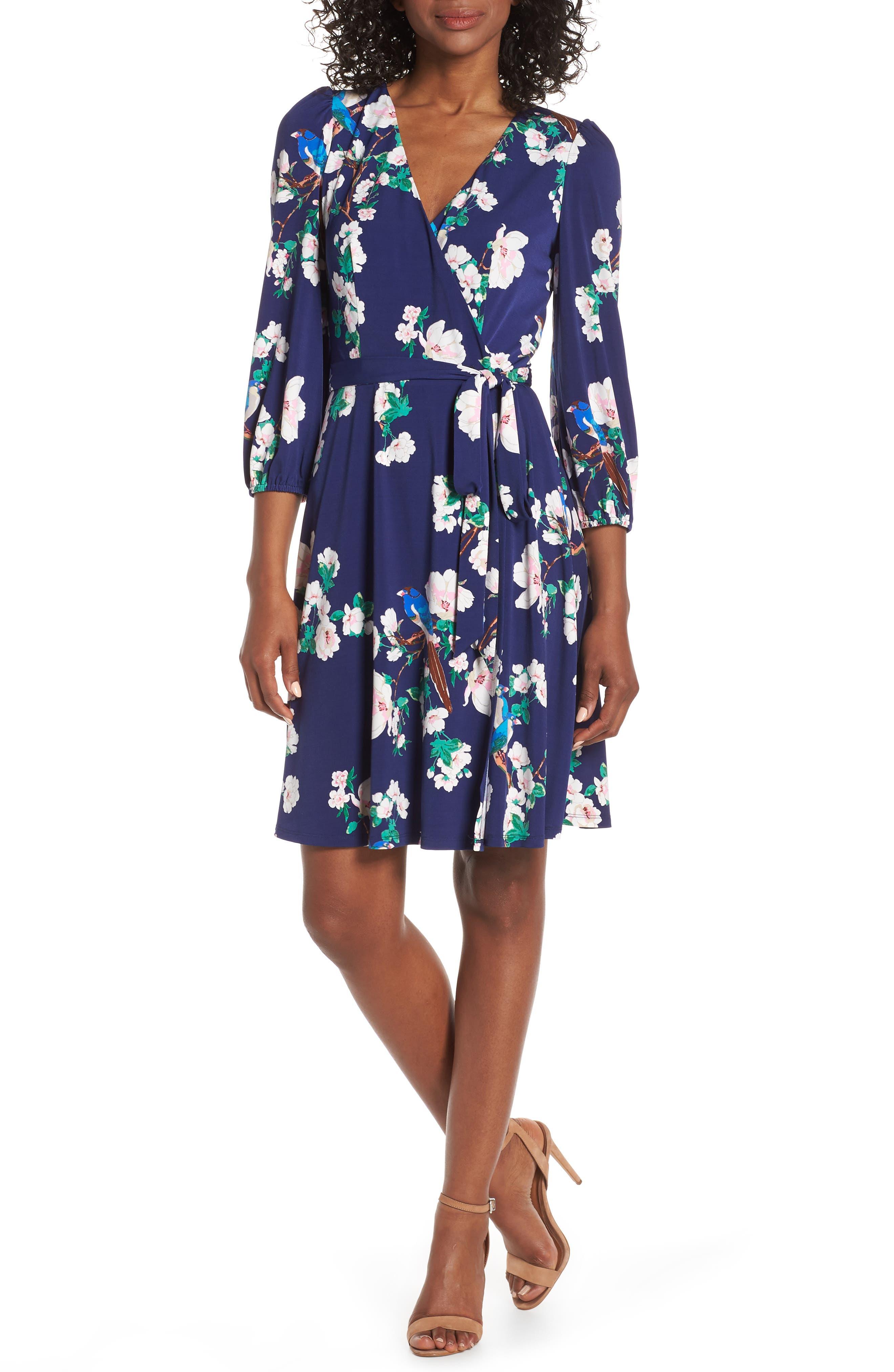 Petite Eliza J Floral Faux Wrap Dress, Blue