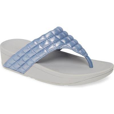 Fitflop Lulu Padded Shimmy Suede Flip Flop, Blue